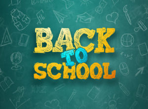 Creative background, inscription Back to school, elements of education and space for text in the background. Flyer A4, poster for sale, discounts. 3D illustration, 3D rendering. (Creative background, inscription Back to school, elements of education a